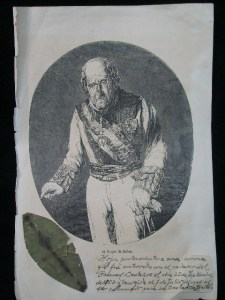 Hoja de laurel procedente de la corona fúnebre del General Castaños. Héroe de la Guerra de la Independencia.  Recuperada de la exhumación del año 1963.